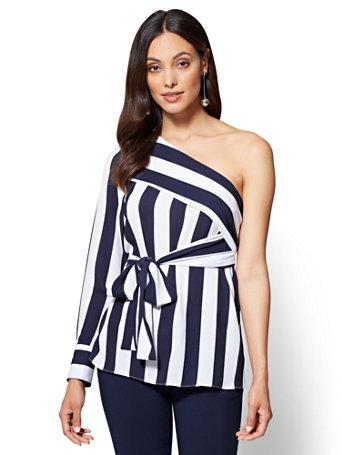 Nyc One Shoulder Blouse Navy White Stripe