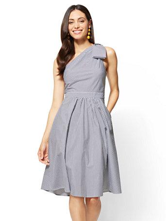 Ny Amp C One Shoulder Fit And Flare Dress Poplin Stripe