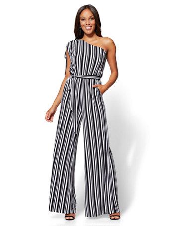 Nyc One Shoulder Jumpsuit Black White Stripe Petite
