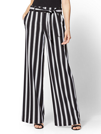 c52866ab887e6e NY&C: Palazzo Pant - Black & White Stripe - 7th Avenue
