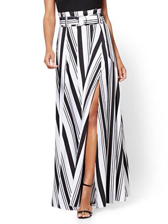 46bcd338c NY&C: Paper Bag-Waist Maxi Skirt - Black & White Stripe