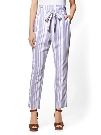 Ny Amp C Paperbag Waist Tie Front Linen Pant