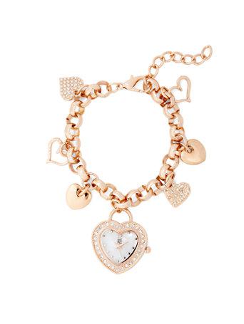 Pave Heart Charm Bracelet Watch