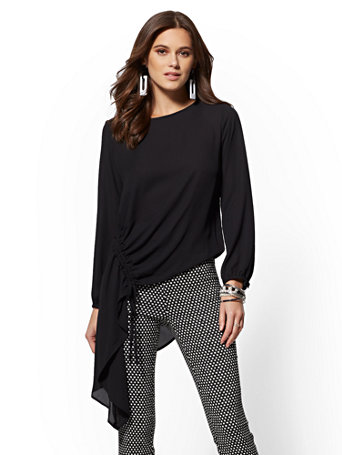 Petite Asymmetrical Hem Tunic Blouse by New York & Company