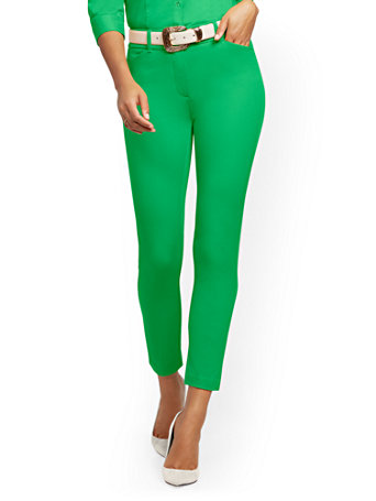 NY&Co Women's Petite Audrey High-Waisted Ankle Pants Emerald Isle