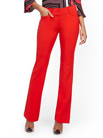 NY&Co Women's Petite Barely Bootcut Pants - Mid Rise - Double Stretch - 7th Avenue Red Harbor