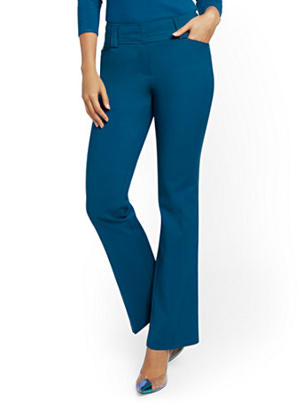 NY&Co Women's Petite Barely Bootcut Pants - Modern - All-Season Stretch - 7th Avenue Blue Topaz