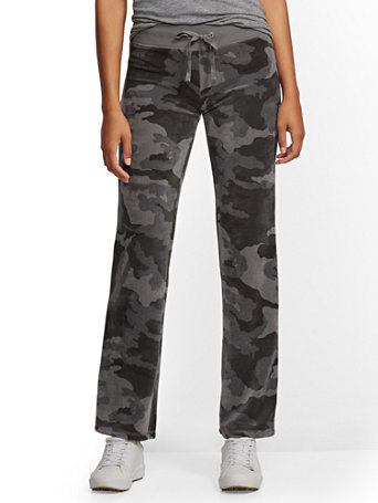 Petite Camo Velour Straight Leg Pant by New York & Company