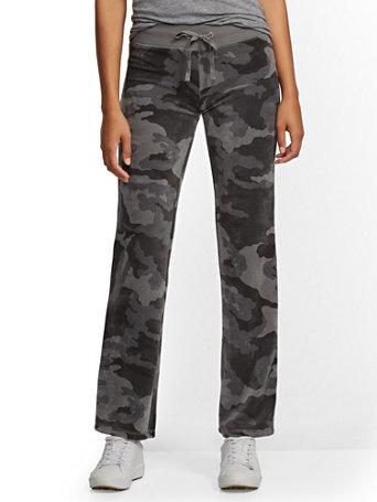 Petite Camo Velour Straight Leg Pant by New York & Company