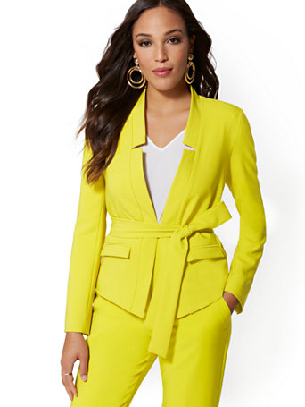 Petite Chartreuse Madie Belted Blazer   7th Avenue by New York & Company