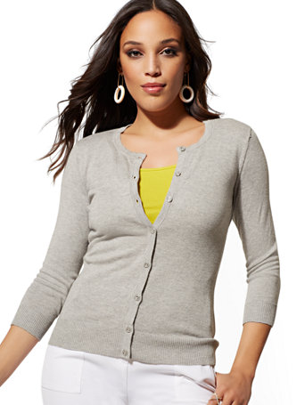 Petite Crewneck Chelsea Cardigan by New York & Company