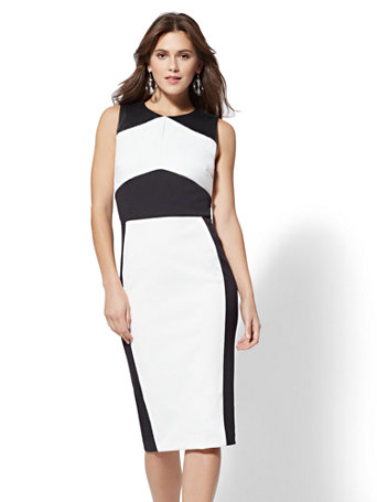 Nyc Petite Faux Leather Colorblock Sheath Dress