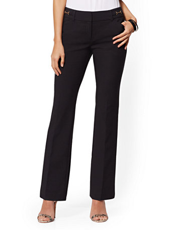 NY&Co Women's Petite Horsebit-Accent Bootcut Pants - Modern - All-Season Stretch - 7th Avenue Black
