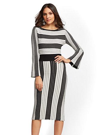 Ny Amp C Petite Metallic Stripe Fit And Flare Sweater Dress