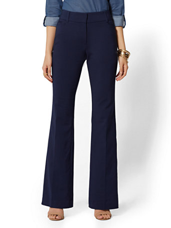 NY&Co Women's Petite Mid Rise Bootcut Pants - All-Season Stretch - 7th Avenue Grand Sapphire