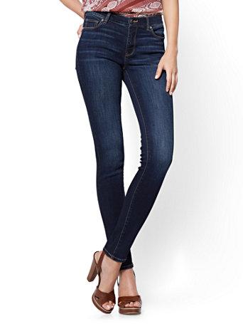 NY&Co Women's Petite Mid-Rise Skinny Jeans - Blue Tease Blue Tease Wash