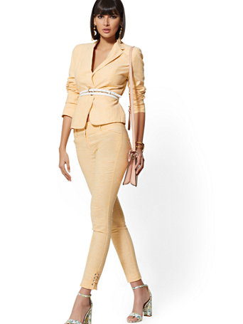 Petite One Button Jacket   City Stretch Linen Flex   7th Avenue by New York & Company
