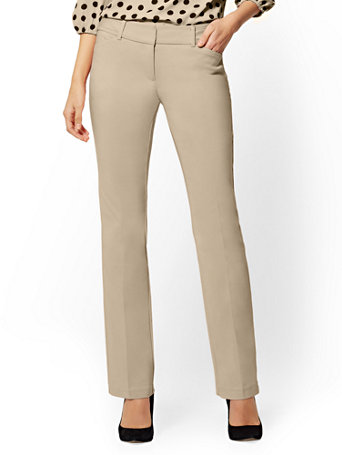 NY&Co Women's Petite Straight-Leg Pants - Signature Fit - All-Season Stretch - 7th Avenue Hazelnut Latte