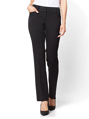 NY&Co Women's Petite Straight-Leg Pants - Signature Fit - Superstretch - 7th Avenue Black