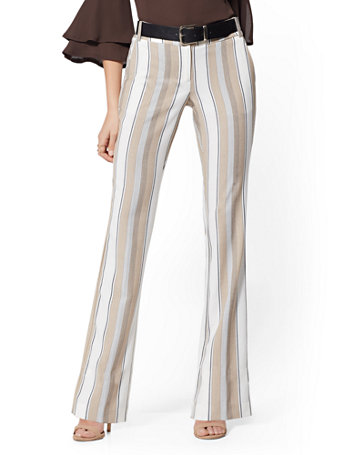 Petite Stripe Straight Leg Pant   Signature Fit   7th Avenue by New York & Company