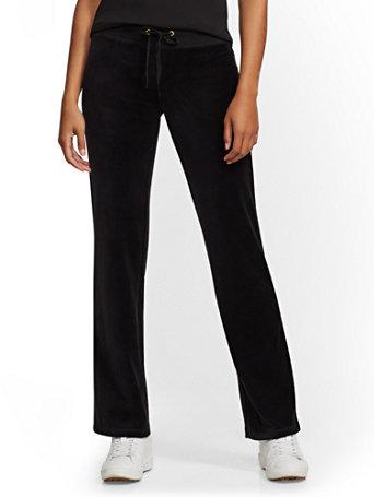 Petite Velour Straight Leg Pant by New York & Company