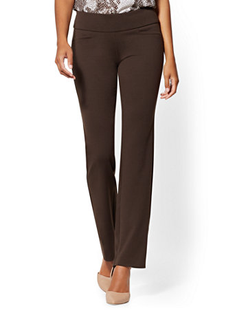 Petite Whitney High Waisted Pull On Straight Leg Pant   Ponte   7th Avenue by New York & Company