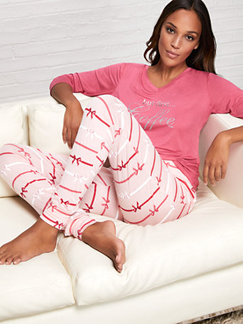 Pink Bow Print Jogger Pant by New York & Company