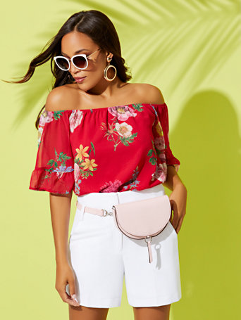 Pink Floral Off The Shoulder Blouse   Sweet Pea by New York & Company