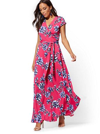 658930667c38 Pink Floral Wrap Maxi Dress (23160260) photo