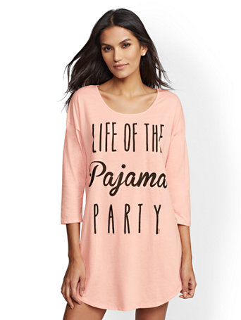 "Pink ""Life Of The Pajama Party"" Sleep Dress by New York & Company"