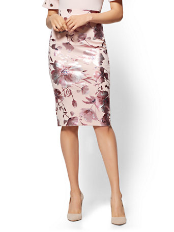 d2bee203cca NY C  Pink Pull-On Pencil Skirt - Metallic-Foil Floral