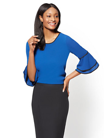 piped-bell-sleeve-top by new-york-&-company