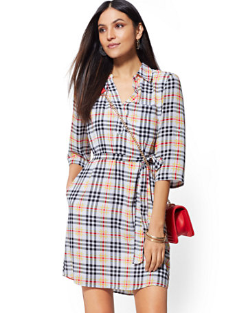 Plaid Belted Shirtdress by New York & Company