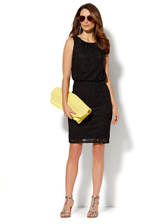Pleated Lace-Overlay Dress
