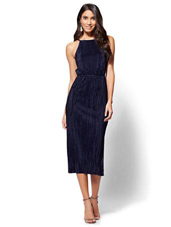 NY&C: Pleated Midi Halter Dress