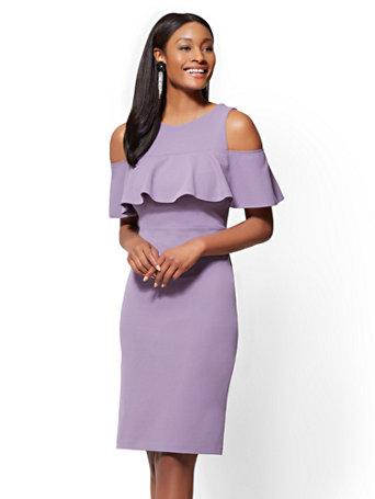 f20eaaa0de5 Ny C Purple Ruffled Cold Shoulder Sheath Dress