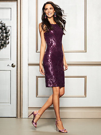 Purple Sequin Sheath Dress by New York & Company