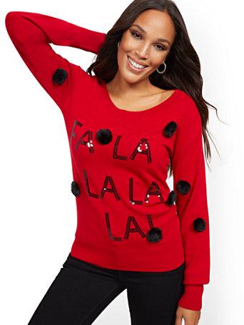 """Red """"Fa La La La La"""" Sweater by New York & Company"""