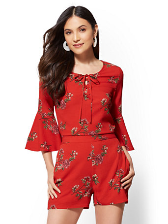 Nyc Red Floral Lace Up Top