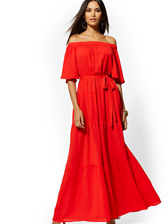Red Off The Shoulder Maxi Dress by New York & Company
