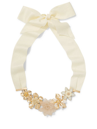Ribbon-Accent Floral Statement Necklace