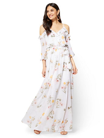 Nyc ruffled cold shoulder maxi dress floral 041 mightylinksfo