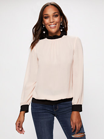 Ruffled Collar Contrast Trim Blouse by New York & Company