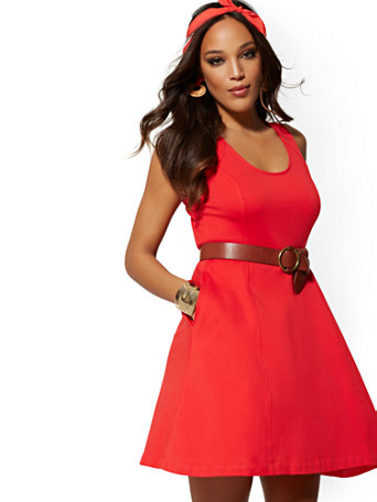 Seamed Cotton Fit and Flare Dress - RED Size Xsmall - NY&Co Womens Dresses