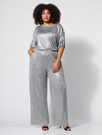 641b84ff191 NY C  Silvertone Metallic-Foil Jumpsuit - Gabrielle Union Plus ...