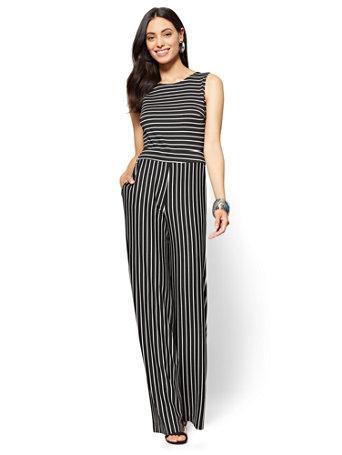 73a0d27fa95 NY C  Sleeveless Tie-Back Jumpsuit - Stripe