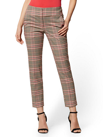 Slim Ankle Pant   Modern Fit  Tan Plaid   7th Avenue by New York & Company