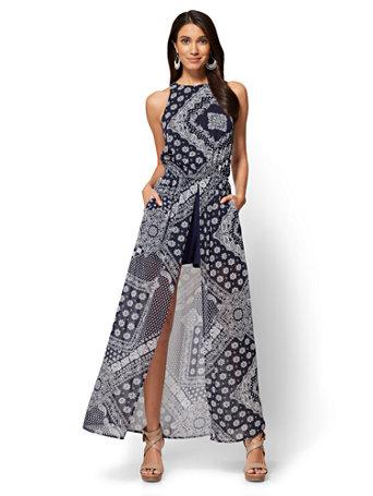 Slit-Detail Maxi Dress - Bandana Print - Petite