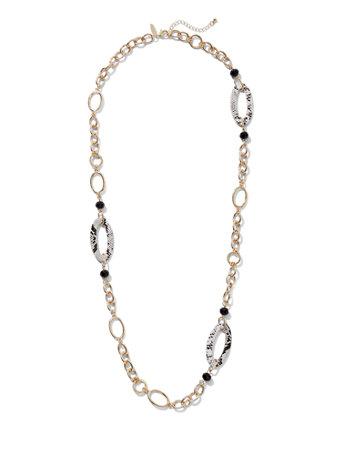 Snake-Print Oval Link Necklace - New York & Company