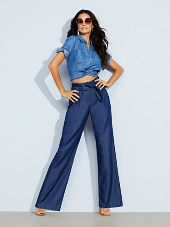 Soho Jeans   Paperbag Waist   Wide Leg   Rinse by New York & Company